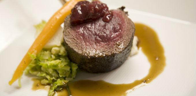 Oven_Roasted_Rack_of_Elk_with_a_Cranberry_and_Ginger_Compote_Barley_and_Almond_Risotto_with_Foie_Gras_Jus